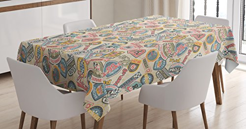 - Ambesonne Grunge Tablecloth, Racing Teams with Colorful Logos Excitement Grand Prix Driving and Riding Themes, Dining Room Kitchen Rectangular Table Cover, 52 W X 70 L inches, Multicolor