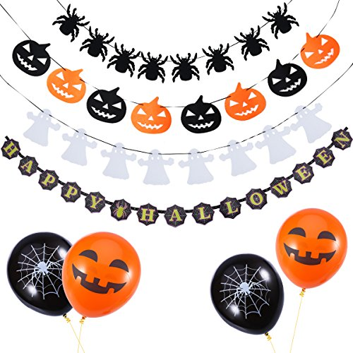 NUOLUX Halloween Decorative Props Set Pumpkin Spider Ghost Garlands with 18pcs Balloons ()