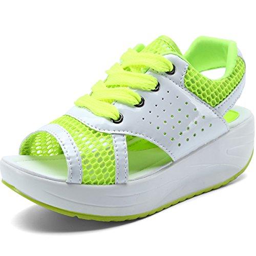 VECJUNIA Ladies Peep Toe Wedge Platform Lace-Up Sandals Green mJ3brr
