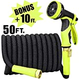 Sunflora 50 ft Expandable Garden Hose + Bonus 10 feet with Solid Brass Fittings and 9 Patterns Spray Nozzle, Flexible No Kink Water Hoses for Lawn Total 60 Feet