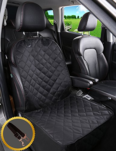 ALFHEIM Dog Car Seat Cover Car Back Seat Cover Nonslip Rubber Backing with Anchors for Secure Fit – Universal Design for All Cars, Trucks & SUVs (Black) (Front Seat Cover) Review