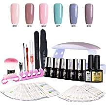 Modelones Gel Nail Polish Starter Kit, with 6W LED Lamp Base Top Coat, 6 Gels in Tiny Bottles, Portable Nail Gel Kit for Travel