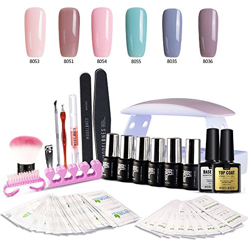 Modelones Gel Nail Polish Starter Kit, with 6W LED Lamp Base