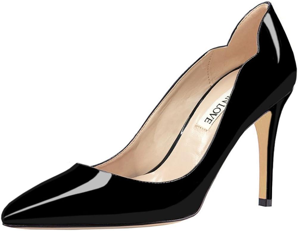 JOY IN LOVE Womens Pumps Shoes Middle Heels Pointy Toe Dress Pump Stilettos