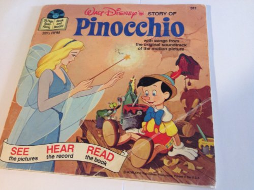 Walt Disney's Read Along Book & Record 33 1/3 the Story of Pinocchio # 311 Year -