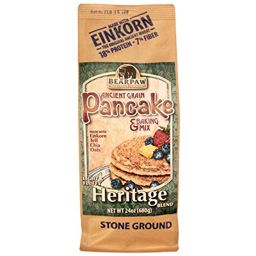 (Bearpaw Ancient Grain Pancake Mix, Heritage Blend (24 ounce), Einkorn, Teff, Chia, Oats, 16% protein, BearpawGrains 861262000302)