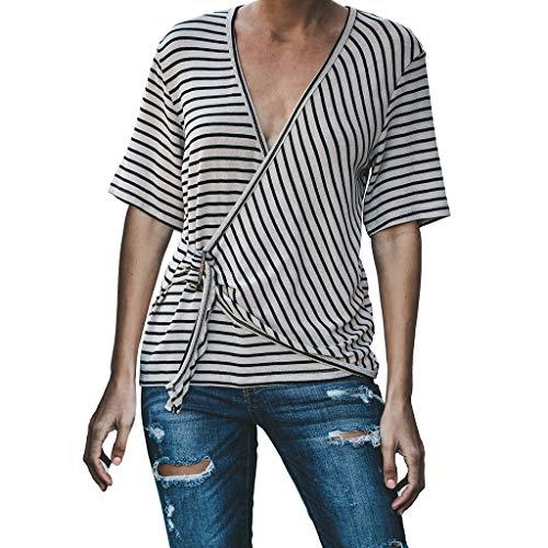 Femmes Populaire Blouses shirt T Décontracté Rayé Manches Sunnywill Chemisier Bouton Mode Marron Courtes avU4xwtqn
