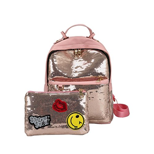 Sumen Bag Women Backpacks,Sumen Teen Girls Fashion Sequins School Backpacks College Bookbag+Small Handbag (Pink) by Sumen Bag