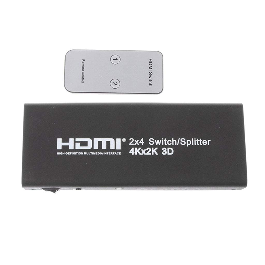 Baoblaze 6 Ports 2 in 4 out HDMI Splitter Switch Support 4K 1080P 3D w//Remote Black