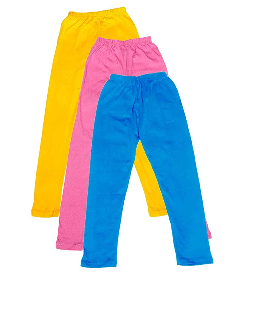 Pack of 3 Indistar Big Girls Cotton Full Ankle Length Solid Leggings -Multiple Colors-9-10 Years