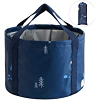 Foldable Travel Bucket, Qtopun Portable Wash Basin With Carrying Pouch Collapsible Water Container for Camping Hiking Fishing