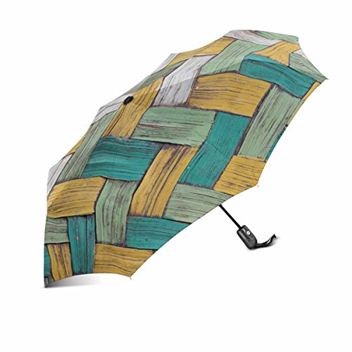 InterestPrint Vintage Wood Bamboos Wicker Texture Background Windproof Automatic Folding Travel Umbrella, Lightweight Compact Aoto Open and Close Umbrella with UV Protection