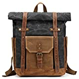 Mwatcher Waterproof Waxed Canvas Leather Backpack College Weekend Travel Rucksack 15in laptops Backpack (Black)