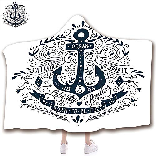 scocici Fashion Blanket Ancient China Decorations Blanket Wearable Hooded Blanket,Unisex Swaddle Blankets for Babies Newborn by,Letters Secure Object in Sailors Life Art,Adult Style Children Style