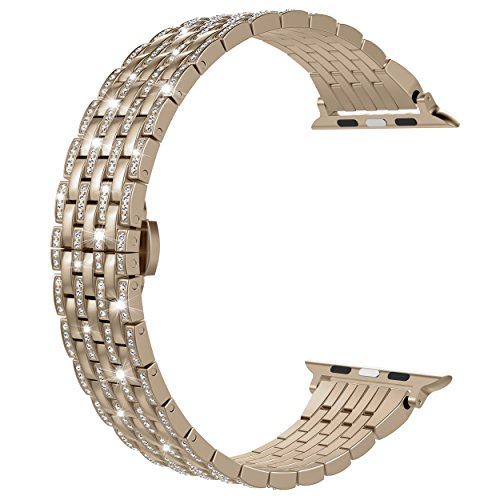 Wearlizer Compatible with Apple Watch Band 38mm 40mm iWatch Womens Bling Rhinestone Wristband Luxury Crystal Lightweight Aluminum Strap Dress Replacement Bracelet Series 4 3 2 1 Edition-Champagne Gold