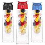 Vremi 24 Oz Fruit Infused Water Bottle - BPA Free Tritan Reusable Plastic Water Bottle with Fruit Infuser Insert Basket and Flip Top Leak Proof Lid for Flavor Infusion Beverage Sports Drinks - Red