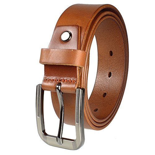 Gelante Mens Leather Belt - One Piece Top Grain Thick Heavy Duty 33001-LightBrown-L (Leather Brown Antique Top)