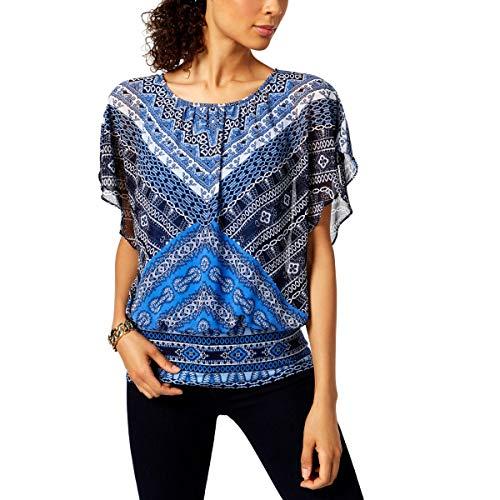JM Collection Womens Printed Flutter Sleeve Blouse Blue L