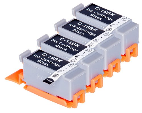 4 Pack Compatible Canon BCI-15 4 Black for use with Canon Canon i70, i80, PIXMA iP90, PIXMA iP90v. Ink Cartridges for inkjet printers. BCI-15-BK © Blake Printing Supply