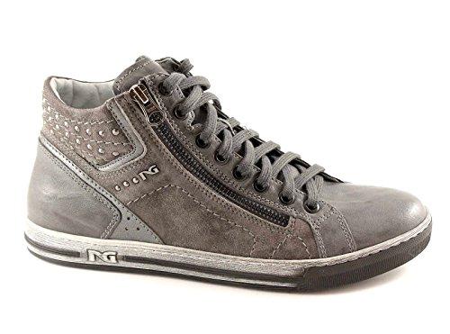 NERO GIARDINI 13431 grigio scarpe donna mid zip sportive sneaker
