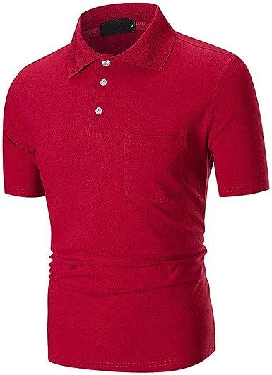 POLP Polos para Hombre Camiseta de Manga Corta Delgada Blusa con ...