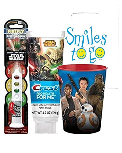 "Star Wars Clone Soldier 3pc Bright Smile Oral Hygiene Set! (1) Star Wars Light up Toothbrush (1) Minty Breeze Toothpaste & Mouthwash Rinse Cup! Plus Bonus ""Remember to Brush' Visual Aid!"