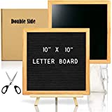 Double Sided Felt Letter Board with Chalkboard -10x10 Black Changeable Message Sign with Oak Frame Stand, 378 Letter Number Emojis, Halloween Photo Prop Board Sign, Xmas Gifts Baby Shower
