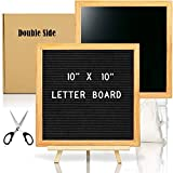 Double Sided Felt Letter Board with Chalkboard -10x10 Black Changeable Message Sign with Oak Frame Stand, 378 Letter Number Emojis, First Day School Photo Prop Board Sign, Teacher Classroom Dorm Decor
