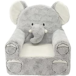 """Sweet Seats Adorable Elephant Children's Chair Ideal for Children Ages 2 and up, Machine Washable Removable Cover,14""""L x 19""""W x 20"""" H"""