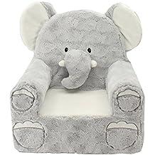 [Patrocinado] Sweet Seats 49226 Adorable silla mono suave para niños, Elefante gris
