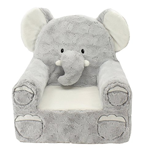 Sweet Seats | Gray Elephant Children's Chair | Large Size | Machine Washable Cover -