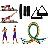 REDGO Resistance Bands for Exercise, Set of 11 pcs, Door Anchor Attachment Fitness Bands for Yoga, Pilates, Dance, Strength, Therapy Stretch and Work Out