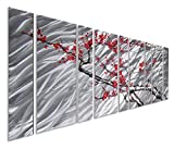 Pure Art Cherry Blossom Flower Tree – Browns Silvers and Reds/Pinks, Massive Metal Wall Art Decor Perfect for Any Room – Contemporary Hanging Sculpture Set of 9 Panels 86'' x 32''