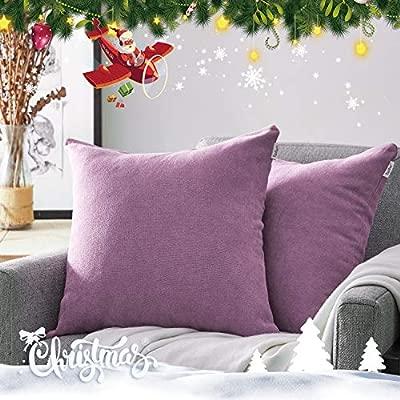 Topfinel juego 2 Hogar Algodón Lino Decorativa Almohadas Fundas de color sólido Para Sala de Estar sofás Violeta 45x45cm