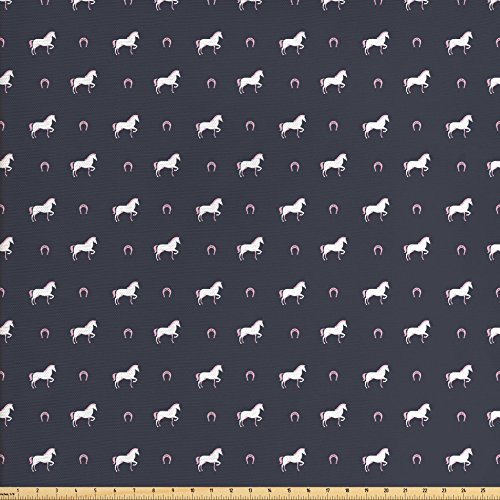 Ambesonne Horses Fabric by the Yard, Animal Pattern Sublime Mustang Silhouette Wildlife Horseshoe Abstract, Decorative Fabric for Upholstery and Home Accents, Purple Grey White (Purple Horseshoes)