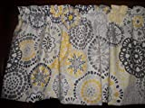 Curtain Toppers Gray Yellow Circle Polka Dot retro waverly fabric kitchen curtain topper Valance 42' by 13