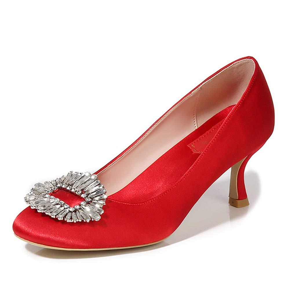 LHWAN Satin Heels hohe Schuhe Strass Damen Juwel Pumpen große große große Brautschuhe  069aad