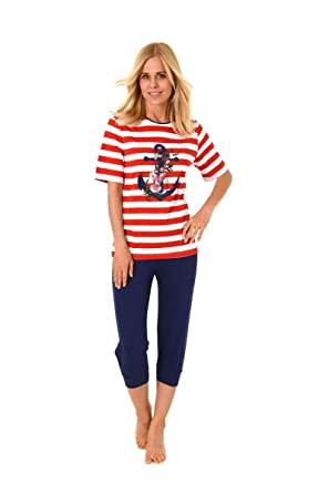 klassische Schuhe Billiger Preis erstklassig Damen Pyjama Schlafanzug Kurzarm Caprihose Baumwolle: Amazon ...