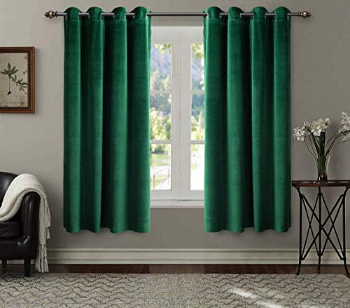 SINGINGLORY Velvet Curtains 2 Panels Set, Blackout Thermal Insulated Velour Grommet Drapes with 2 Tiebacks for Bedroom and Living Room (52 x 63 inch, ()
