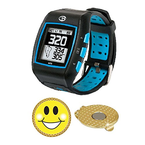 GolfBuddy WT5 Golf GPS/Rangefinder Watch (40k+ Preloaded Worldwide Courses) Bundle with Magnetic Hat Clip Ball Marker (Smiley Face)