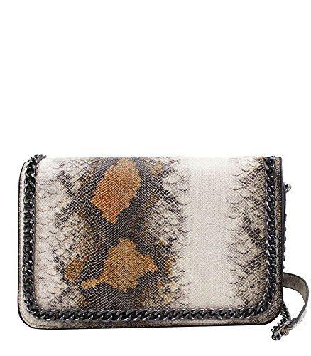 haute pour DIVA 'S NEUF peau de serpent simili cuir chaîne bordure pour femme sac à main Sac bandoulière - Marron, Medium Marron