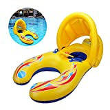 Mother and Baby Inflatable Swimming Float with Removable Safety Sunshade Canopy, Double Person Swimming Ring Toy for Kids (1-3 Years)