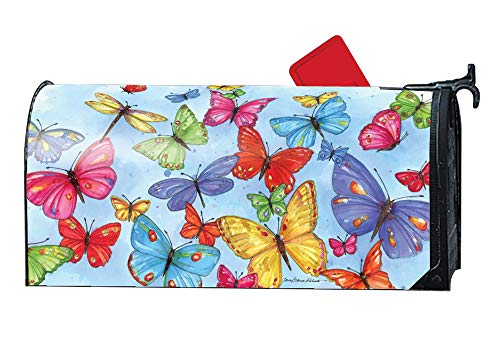 Weather Vinyl Mailbox Cover - MailWraps Studio M Brilliant Butterflies Decorative Spring Summer, The Original Magnetic Mailbox Cover, Made in USA, Superior Weather Durability, Standard Size fits 6.5W x 19L Inch Mailbox