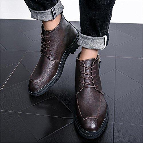 Mens Antique Leather Boots Knöchel Schuhe Lace-Up Shoes Braun