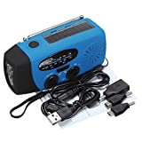 Media Players Speakers & Radios - Solar AM FM Radio Emergency Wind Up Crank 3 LED Lantern - Blue - 1 x Solar Radio 1 x USB Cable 1 x Audio Cable