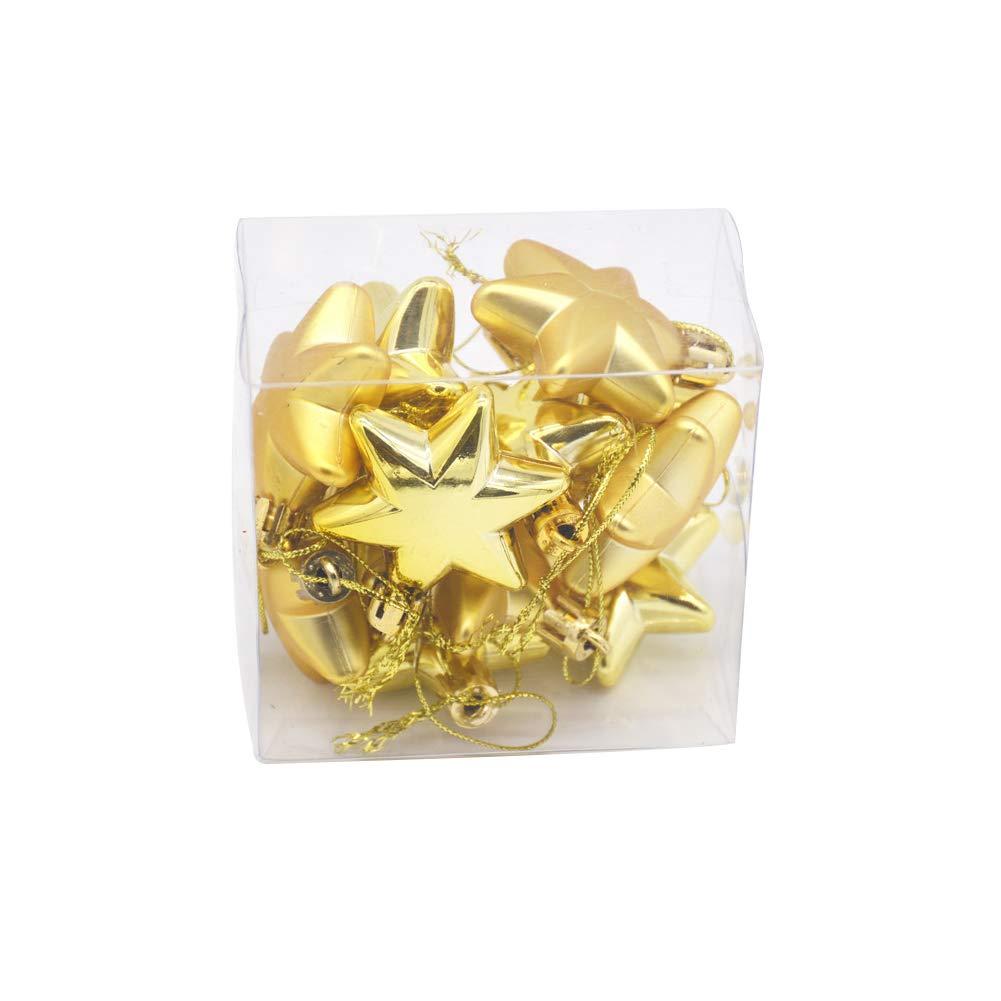 Binwwede 12 PCS Small Christmas Tree Pendant, Heart & Stars Ball Ornament Decoration (Star-Gold)