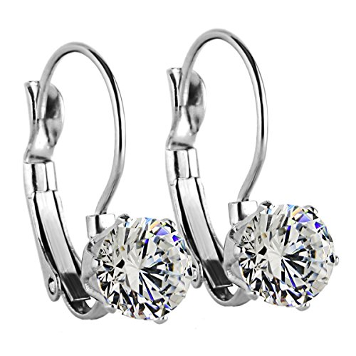 Charisma 8mm Stainless Steel CZ Cubic Zirconia Round Drop Leverback Earrings (Steel)