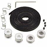 pulley belt - Wangdd22 2pcs GT2 Pulley 20 Teeth Bore 5mm + 5m GT2 Timing Pulley Belt + 2pcs Idler +4pcs Belt Locking Spring for 3D printer RepRap