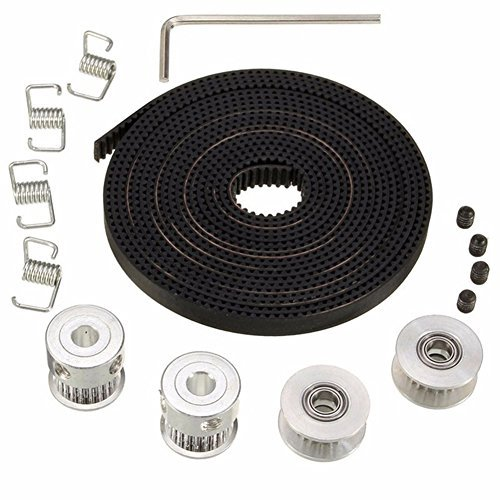 Wangdd22 2pcs GT2 Pulley 20 Teeth Bore 5mm + 5m GT2 Timing Pulley Belt + 2pcs Idler +4pcs Belt Locking Spring for 3D printer RepRap
