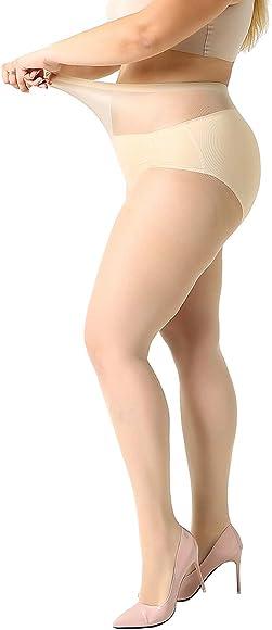 fb9b3a8746b5e MANZI Women's 2-4 Pairs Plus Size Control Top Ultra-Soft Pantyhose Tights
